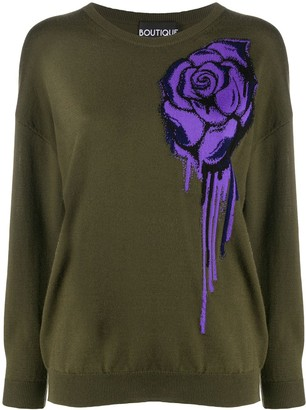 Boutique Moschino Rose Motif Crewneck Jumper