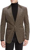Tom Ford Shelton Base Printed Velvet Sport Jacket, Tan