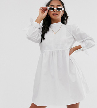 Asos DESIGN Petite high neck mini smock dress with pin tucks and tie sleeves-White