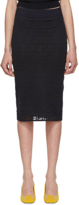 Fendi Navy Knit Forever Pencil Skirt