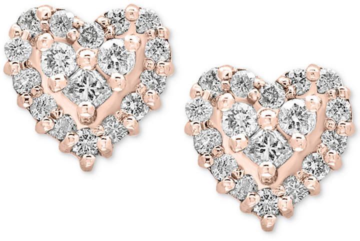 Effy Pave Rose by Diamond Heart Stud Earrings (1/2 ct. t.w.) in 14k Rose Gold