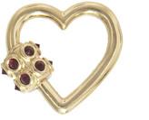 Marla Aaron Inverted Ruby Heart Lock - Yellow Gold