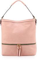 Neiman Marcus Penelope Faux-Leather Hobo Bag, Blush