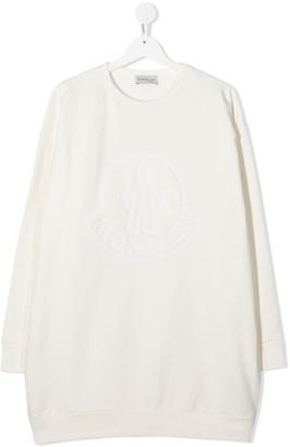 Moncler Enfant Long Sleeve Embossed Logo Sweater