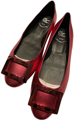 Roger Vivier Gommetine Red Leather Ballet flats