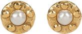 One Kings Lane Vintage Chanel Hammered Pearl Earrings - Vintage Lux - gold/pearl