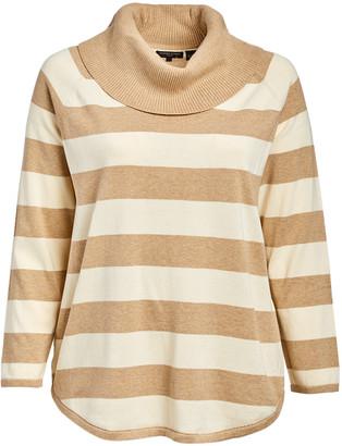 Jeanne Pierre jeanne pierre Women's Pullover Sweaters Camel - Camel & Eggnog Stripe Cowl Neck Sweater - Plus
