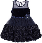 Little Lass Navy Floral Tulle A-Line Dress - Toddler & Girls