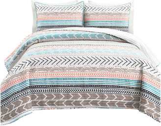 Triangle Home Fashions Hygge Geo 3-Piece Quilt Set, Neutral/Multi, Full/Queen