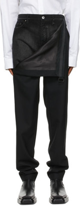 Y/Project Black Wool and Denim Lazy Trousers