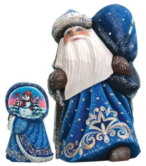 G.Debrekht G.DeBrekht Woodcarved and Hand Painted Santa Snow Day Yuletide with Bag Figurine