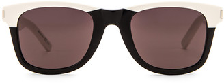 Saint Laurent Square Two Tone Sunglasses in Shiny Black & Ivory | FWRD