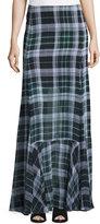 McQ Flared Fluid Plaid Silk Maxi Skirt, Green