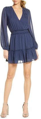NSR Belle Long Sleeve Crinkle Chiffon Minidress