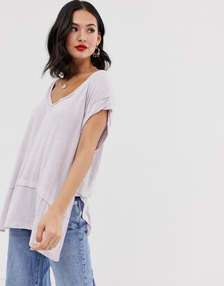Free People Voyage v-neck t-shirt-Purple