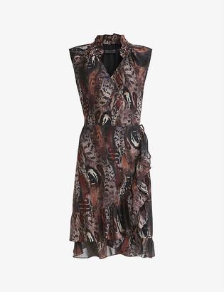 AllSaints Darley graphic-print crepe mini dress