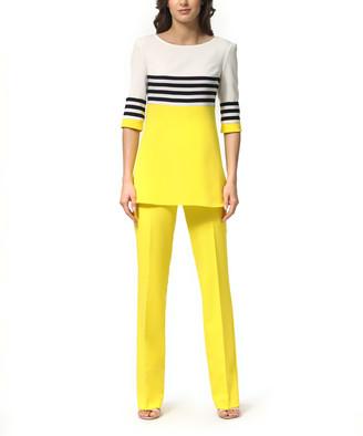 LADA LUCCI Women's Casual Pants Yellow - Yellow & Black Stripe Color Block Tunic & High-Waist Pants - Women & Plus