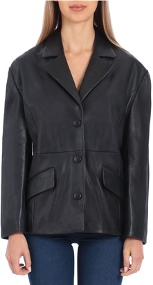 Bagatelle Badgley Mischka Drop-Shoulder Leather Blazer