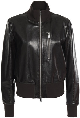 Theory Aviator Textured Patent-leather Jacket