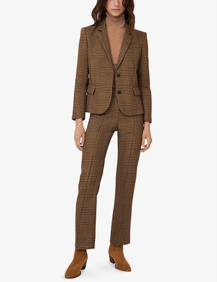Maje Vedela checked slim-fit woven blazer