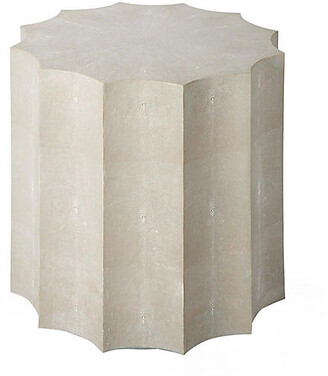 REGINA ANDREW Marilyn Faux-Shagreen Side Table - Ivory/Gray