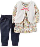 Carter's 3-Pc. Faux-Fur Vest, Top & Jeggings Set, Baby Girls (0-24 months)