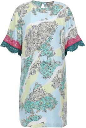 Emilio Pucci Lace-trimmed Floral-print Silk-twill Mini Dress