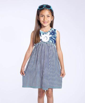 Vanilla Creme Girls' Casual Dresses AQUA-NAVY - Aqua & Navy Stripe Sleeveless Dress - Toddler & Girls