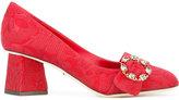 Dolce & Gabbana Decolletè jacquard mid-heel pumps - women - Cotton/Leather - 35