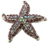 Purple Starfish Charm Pin Brooch Wedding Bridesmaid Prom Necklace Pendant Compatible