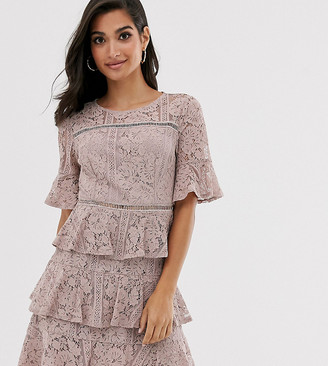 Little Mistress Petite lace frill mini dress with laddeting insert in mink-Pink