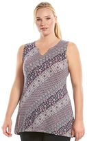 Gaiam Plus Size Solar Splitneck Printed Yoga Tank
