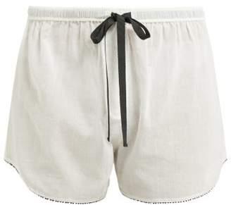 Morgan Lane - Teddy Cotton Pyjama Shorts - Womens - White