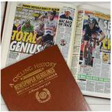 Very Personalised Cycling Heros Newspaper A3 Book - brown leatherette cover/colour print