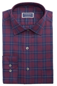 Club Room Men's Classic/Regular-Fit Performance Stretch Houndstooth Plaid Twill Dress Shirt, Created for Macy's