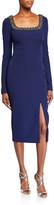 Badgley Mischka Beaded Square-Neck Long-Sleeve Dress w/ Front Slit