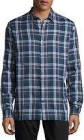 Vince Plaid Button-Front Sport Shirt, Indigo