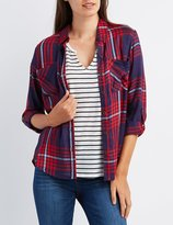 Charlotte Russe Flyaway Plaid Button-Up Top