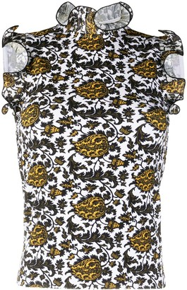 Sandro Paris Embroidered Ruffle Sleeveless Top