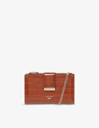 Dune Kiplowe crocodile-embossed faux-leather wallet-on-chain