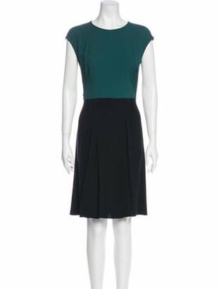 Prada Colorblock Pattern Knee-Length Dress Black
