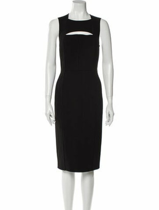 Narciso Rodriguez Square Neckline Midi Length Dress Black