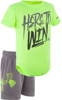 "Under Armour Baby Boy Here To Win"" Bodysuit & Mesh Shorts Set"