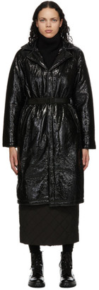 Rains Black Shiny Belt Coat