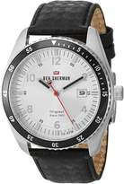 Ben Sherman Men's 'The Ronnie Sports' Quartz Stainless Steel and Leather Casual Watch, Color:Black (Model: WBS107B)