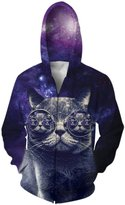 RAISEVERN Men All Over Print Hoodie Hipster Hip Hop Zip Front Hoodies Pullover Sweater