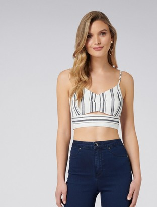 Forever New Polly Co-ord Linen Crop Top - Blue Stripe - 12