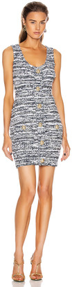 Balmain Short Buttoned Tweed Trap Dress in White & Blue | FWRD