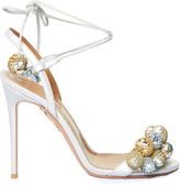 Aquazzura Disco Thing sequinned-pompom suede sandals