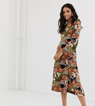 Monki long sleeve midi dress in island print-Brown